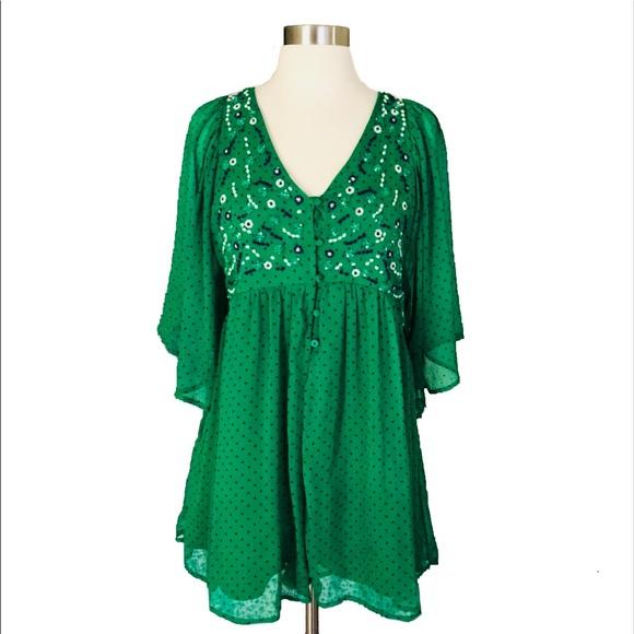 dc328560bac ZARA Green Embroidered Playsuit Polka Dot Dress. M 5b9acc18fe51510a3be6b1cc